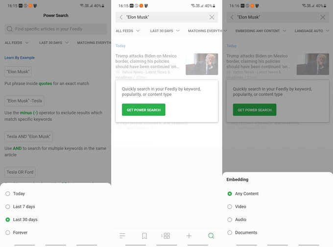 feedly search and filter settings