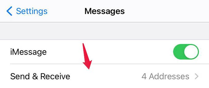 iMessage Send and Receive Settings