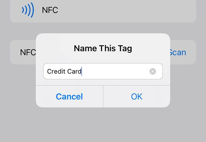 iPhone NFC Automation NFC Tag Name