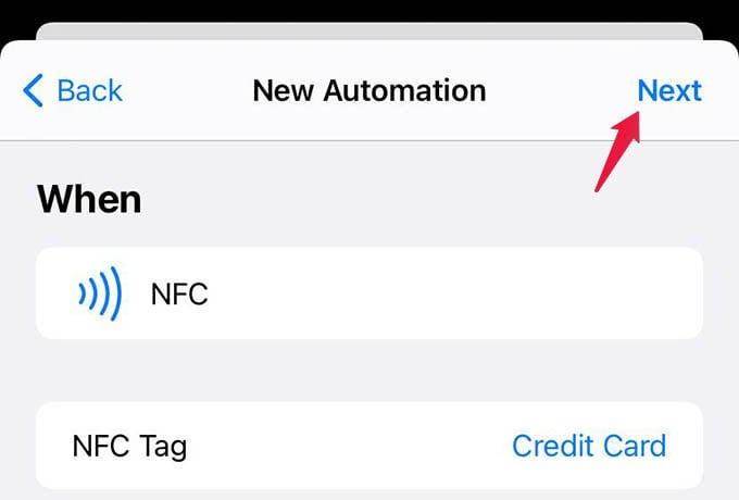 iPhone NFC Detect Next