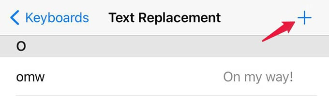 iPhone Text Replacement New