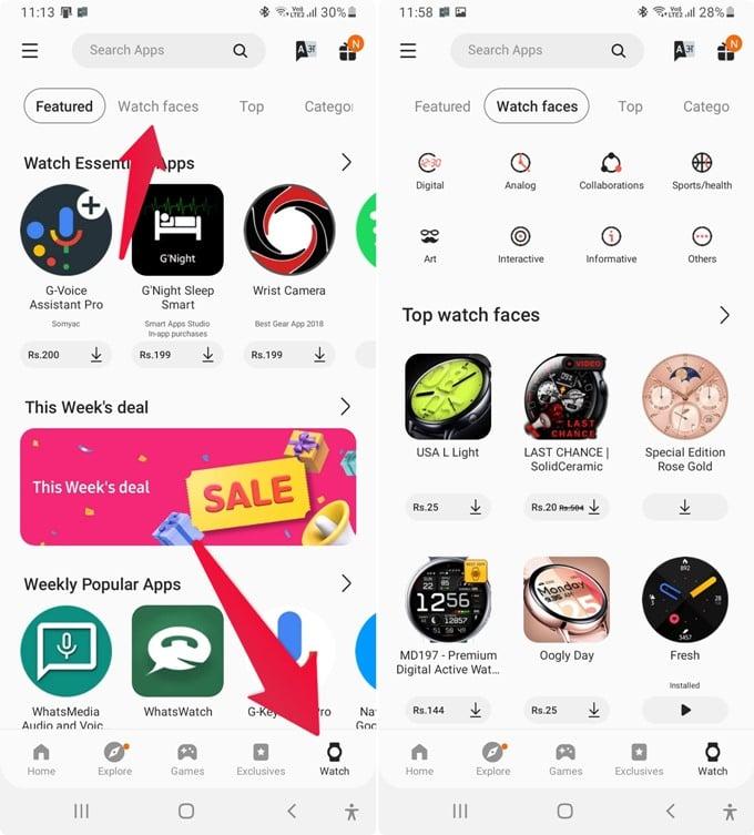 Add Galaxy Watch Face from Galaxy Wearable App