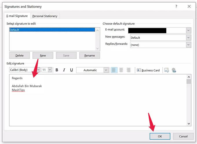 Add or Change Outlook Signature in PC