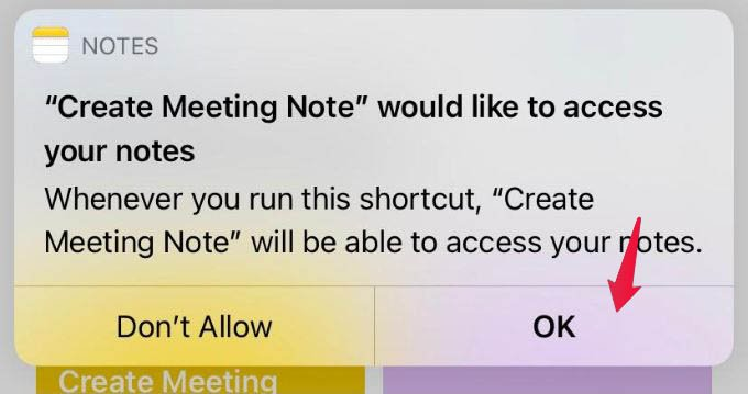 Allow Notes and Calendar Permission to Shortcuts