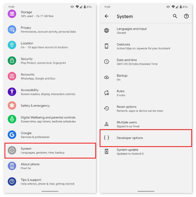 Google Pixel Developer options
