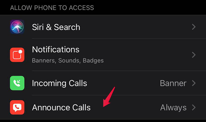 Announce Calls Settings on iPhone