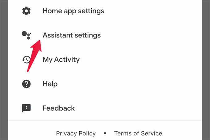 Assistant Settings in Google Home App
