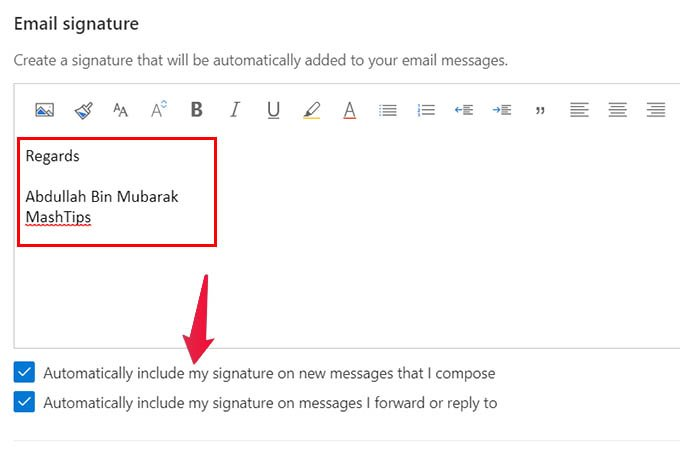 Change Email Signature in Outlook Web