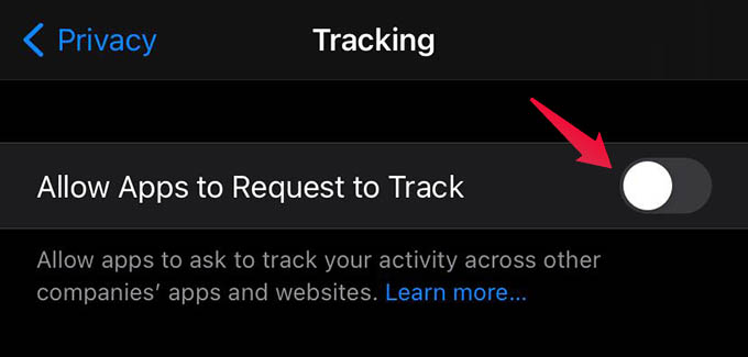 Disable Apps from Tracking iPhone