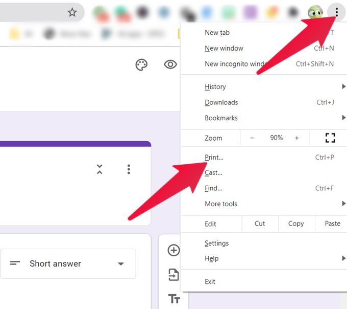Download Google Form as PDF Using Print in Browser