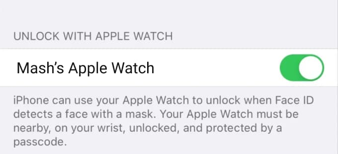 Enable Unlock iPhone with Apple Watch