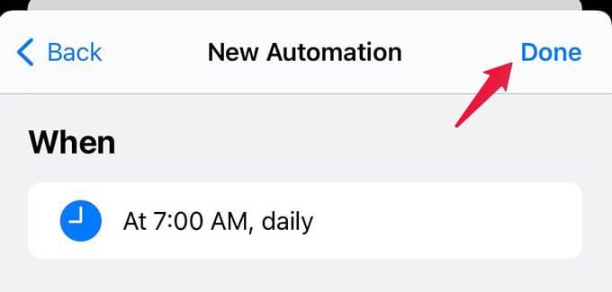 Finish Creating Shortcut Automation on iPhone