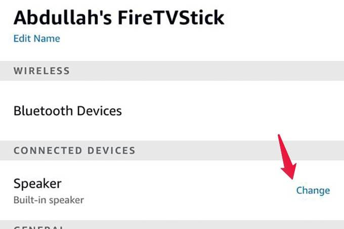 Fire TV Stick Speaker Settings on Alexa App
