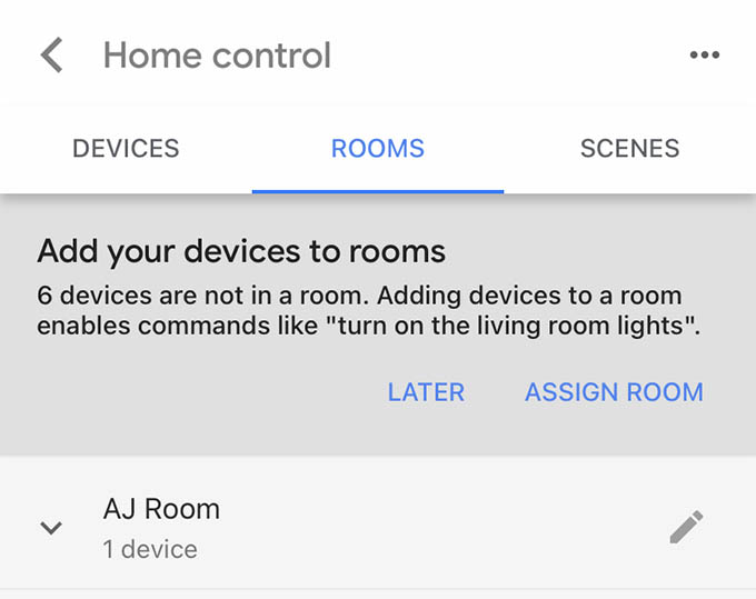 Google Home Home Control Rooms