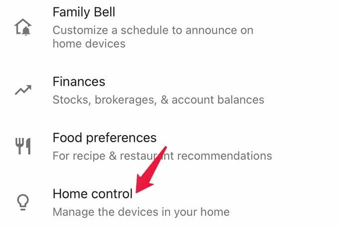 Google Home Home Control Settings