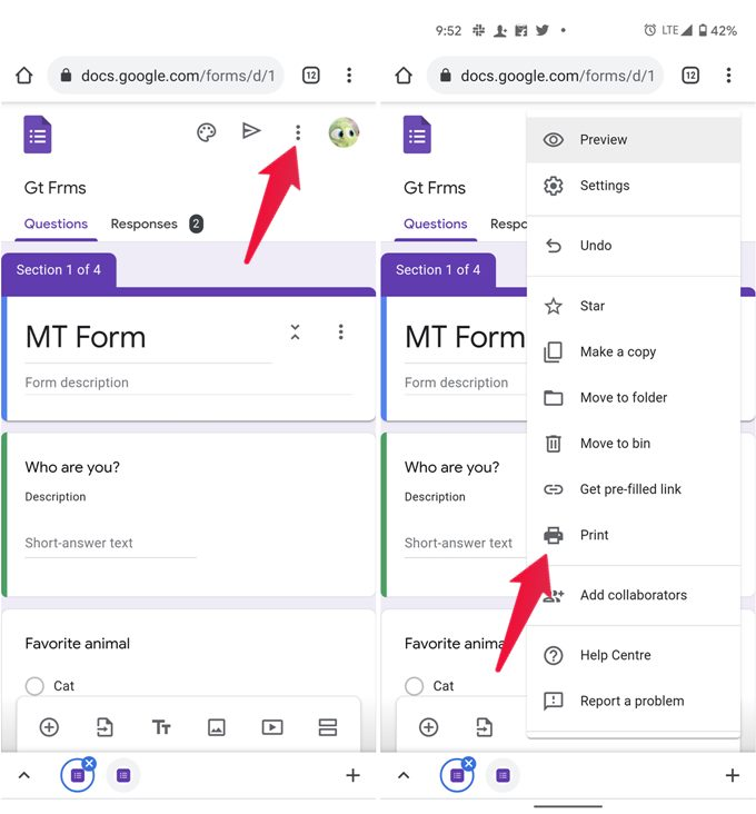 Print Google Form on Android