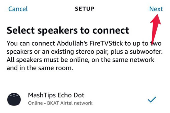 Select Speakers to Connect with Fire TV