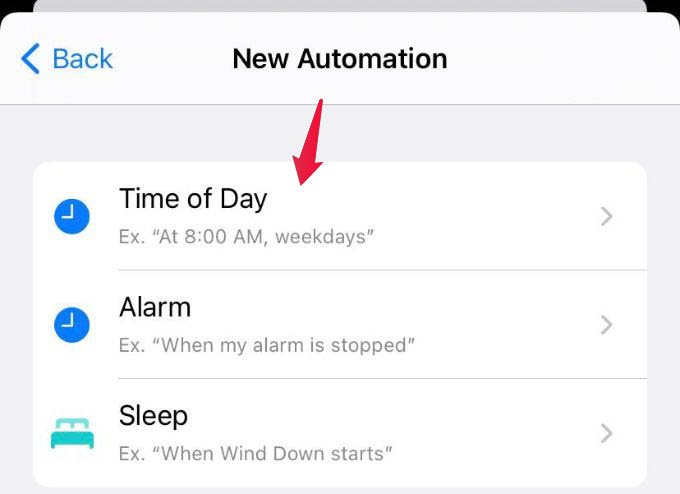 Select Time of Day Trigger for iPhone Automation