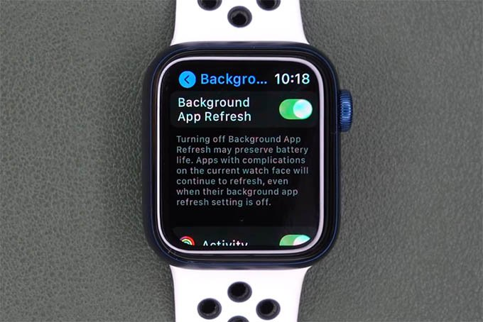 Turn off Apple Watch Background App Refresh to Save Apple Watch Battery Life