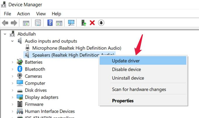 Update Audio Drivers in Windows 10