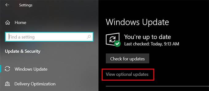 Windows 10 Updates Optional Updates