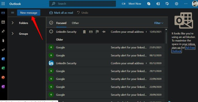 creating new email in outlook to attach emails