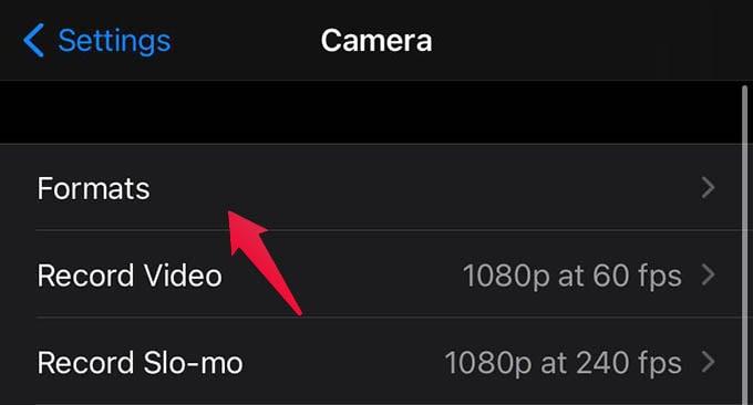 iPhone Camera Formats
