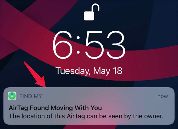 AirTag Found Moving with You Notification on iPhone