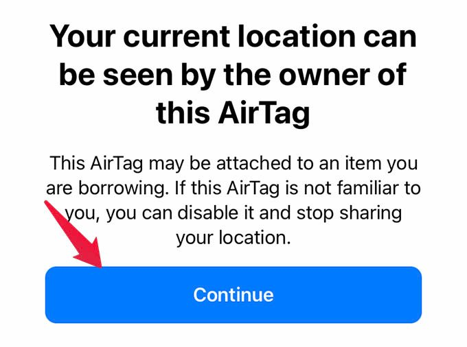 AirTag Found Security Notice on iPhone