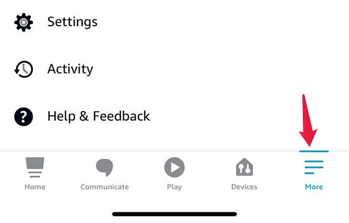 Alexa App More Options