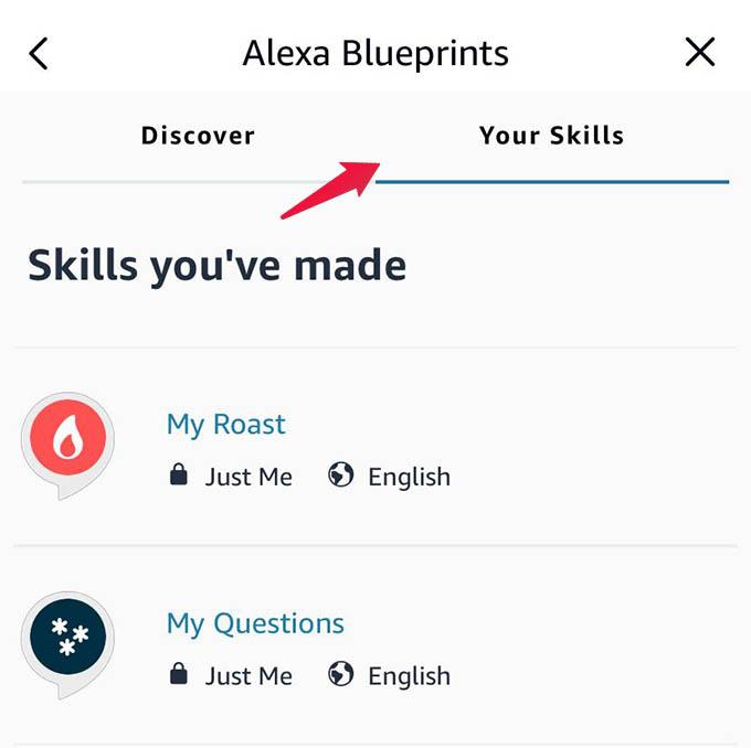 Alexa Blueprints Your Skills Screen