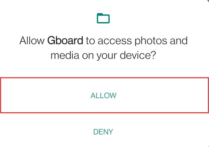 Grant photos and media access to Gboard