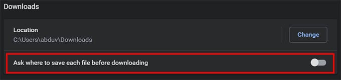 Ask Where to Download File Before Downloading on Chrome