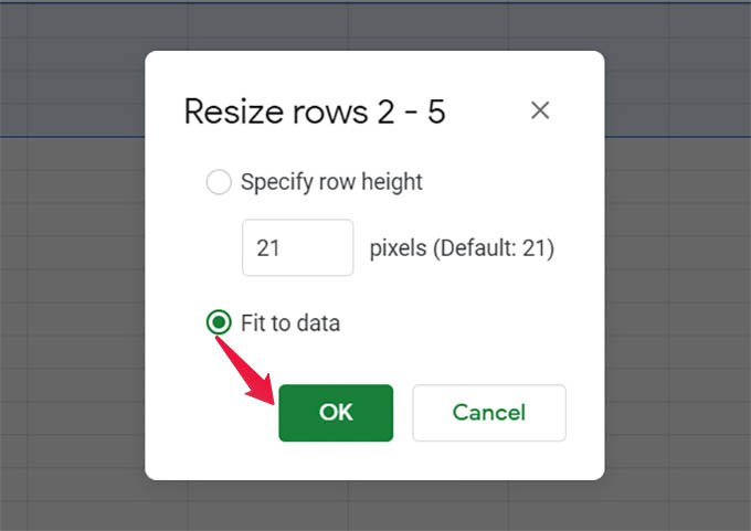 Auto Resize Rows in Google Sheets Fit to Data
