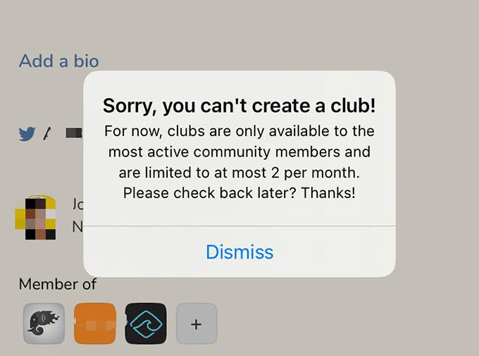 Clubhouse Cannot Create Club