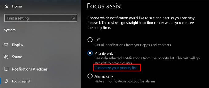 Customize Priority List for Focus Assist on Windows 10