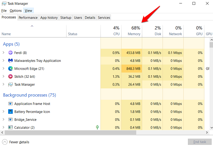 task manager in windows showing memory usage and leak