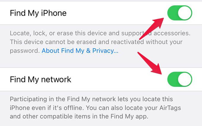 Enable iPhone Find My Network