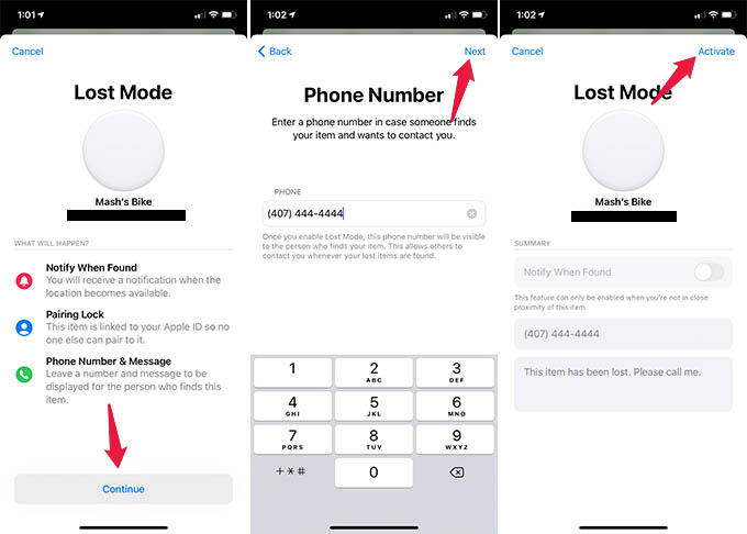 Enter Phone Number and Message in AirTag Lost Mode