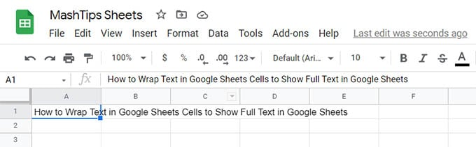 Google Sheets Cell Text Overflow to Other Cells