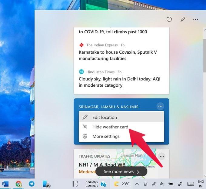 hide weather card in windows 10 weather widget
