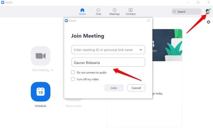 join meeting screen on zoom desktop app