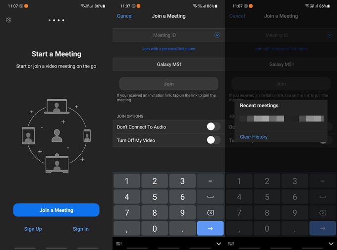 join meeting screen on zoom mobile app