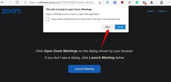 zoom web app redirecting to desktop app