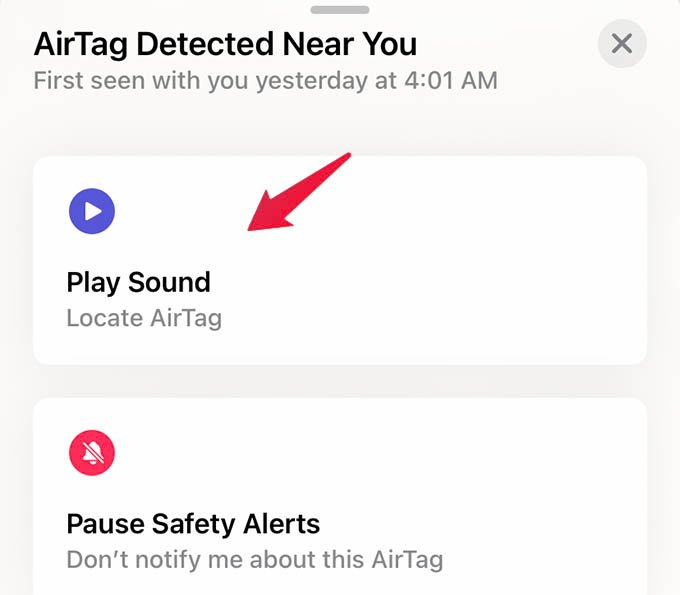 Play Sound on AirTag Detected Near You