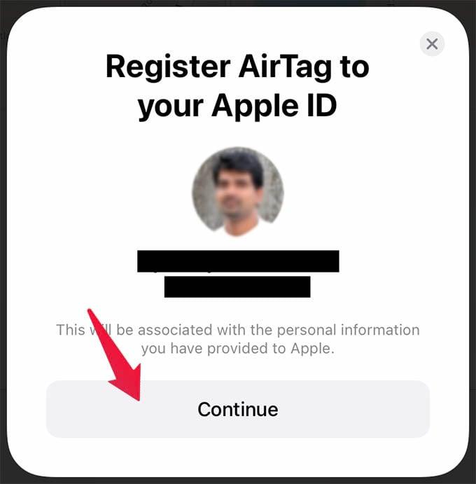 Register Apple AirTag to Apple ID