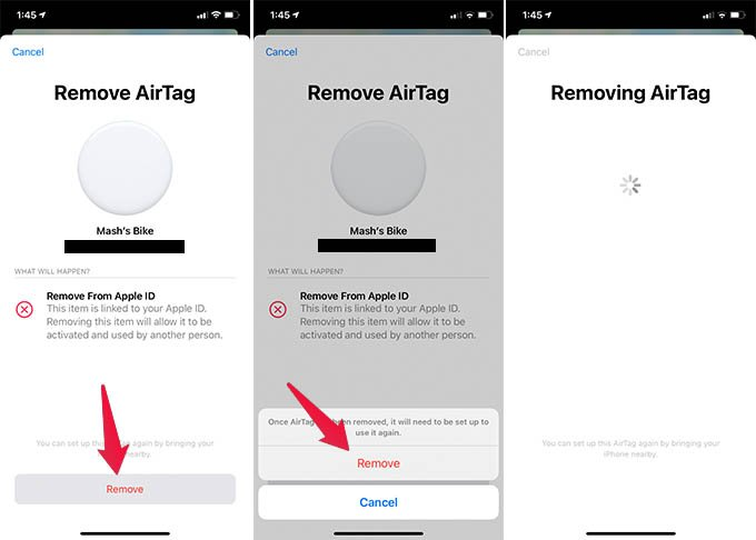 Remove AirTag from Apple ID