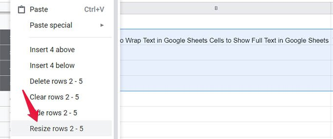 Resize Rows in Google Sheets
