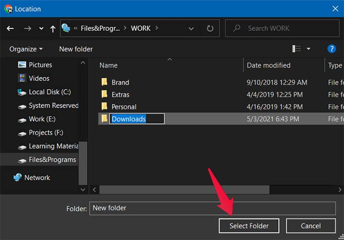 Select Folder in Windows 10 New Download Location