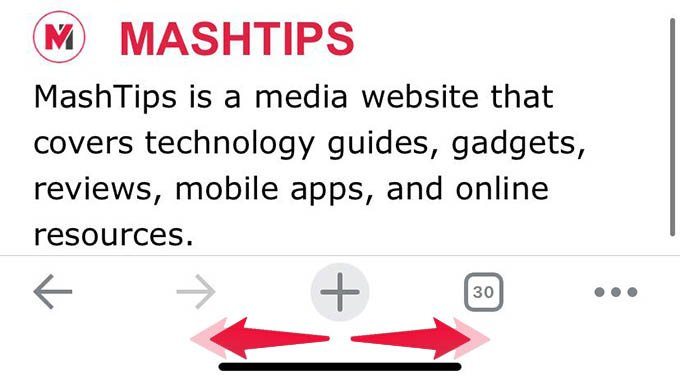 Switch Between Tabs in Chrome on iPhone by Swiping